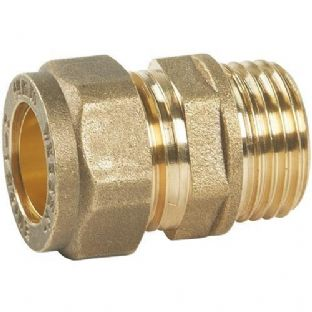 22mm compression fitting straight male iron (Bag of 10=£19.98)
